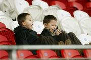 28 January 2007; Nial and Ryan McGrath, 8 year old twins from Ederney, Co Fermanagh,and nephews of Fermanagh GAA player Martin McGrath. McKenna Cup Semi Final, Armagh v Donegal, Healy Park, Omagh, Co. Tyrone. Picture Credit: Oliver McVeigh / SPORTSFILE