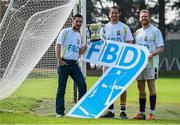 11 September 2014; A host of Kilmacud Crokes stars, past and present, were on hand in Kilmacud Crokes as the 2014 FBD 7's was launched. This is the 42nd year of Ireland's premier 7's tournament which has become a firm favourite in the GAA calendar for both players and supporters alike. In attendance at the 2014 FBD7s launch are, from left, former Donegal footballer Mark McHugh with former Dublin and current Kilmacud Crokes footballers Darren Magee and Mark Vaughan. Kilmacud Crokes GAA Club, Burke Park, Glenalbyn, Stillorgan, Co. Dublin. Picture credit: Brendan Moran / SPORTSFILE