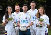 11 September 2014; A host of Kilmacud Crokes stars, past and present, were on hand in Kilmacud Crokes as the 2014 FBD 7's was launched. This is the 42nd year of Ireland's premier 7's tournament which has become a firm favourite in the GAA calendar for both players and supporters alike. In attendance at the 2014 FBD7s launch, from left, Dublin footballer Molly Lamb, former Dublin footballer Mark Vaughan, former Donegal footballer Mark McHugh former Dublin footballer Darren Magee and Ann Marie McBarron, Kilmacud Crokes. Kilmacud Crokes GAA Club, Burke Park, Glenalbyn, Stillorgan, Co. Dublin. Picture credit: Brendan Moran / SPORTSFILE