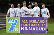 11 September 2014; A host of Kilmacud Crokes stars, past and present, were on hand in Kilmacud Crokes as the 2014 FBD 7's was launched. This is the 42nd year of Ireland's premier 7's tournament which has become a firm favourite in the GAA calendar for both players and supporters alike. In attendance at the 2014 FBD7s launch, from left, Mark Vaughan, Declan Kelleher, Dave Nestor, Mark McHugh, Darren Magee and Ronan Ryan. Kilmacud Crokes GAA Club, Burke Park, Glenalbyn, Stillorgan, Co. Dublin. Picture credit: Brendan Moran / SPORTSFILE