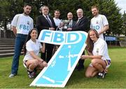 11 September 2014; A host of Kilmacud Crokes stars, past and present, were on hand in Kilmacud Crokes as the 2014 FBD 7's was launched. This is the 42nd year of Ireland's premier 7's tournament which has become a firm favourite in the GAA calendar for both players and supporters alike. In attendance at the 2014 FBD7s launch, clockwise from left, Mark McHugh, Sean Fox, Chairman, Football Section, Kilmacud Crokes, Darren Magee, Mick Durcan, Michael Garvey, Director of Marketing & Sales, FBD, Mark Vaughan, Ann Marie McBarron and Molly Lamb. Kilmacud Crokes GAA Club, Burke Park, Glenalbyn, Stillorgan, Co. Dublin. Picture credit: Brendan Moran / SPORTSFILE