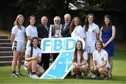 11 September 2014; A host of Kilmacud Crokes stars, past and present, were on hand in Kilmacud Crokes as the 2014 FBD 7's was launched. This is the 42nd year of Ireland's premier 7's tournament which has become a firm favourite in the GAA calendar for both players and supporters alike. In attendance at the 2014 FBD7s launch, clockwise, from left, Aisling Whitely, Molly Lamb, Pat Quill, President, Ladies Gaelic Football Association, Donal Daly, Chairperson, Ladies Football Section, Kilmacud Crokes, Michael Garvey, Director of Marketing & Sales, FBD, Ann Marie McBarron, Michelle Davoren, Claire Aughney, Aoife Kane,  Eabha Rutledge and Orla McDonald. Kilmacud Crokes GAA Club, Burke Park, Glenalbyn, Stillorgan, Co. Dublin. Picture credit: Brendan Moran / SPORTSFILE