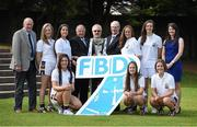 11 September 2014; A host of Kilmacud Crokes stars, past and present, were on hand in Kilmacud Crokes as the 2014 FBD 7's was launched. This is the 42nd year of Ireland's premier 7's tournament which has become a firm favourite in the GAA calendar for both players and supporters alike. In attendance at the 2014 FBD7s launch, clockwise, from left, John Sheridan, founder of Ladies Football in Kilmacud Crokes, Aisling Whitely, Molly Lamb, Pat Quill, President, Ladies Gaelic Football Association, Donal Daly, Chairperson, Ladies Football Section, Kilmacud Crokes, Michael Garvey, Director of Marketing & Sales, FBD, Ann Marie McBarron, Michelle Davoren, Claire Aughney, Aoife Kane,  Eabha Rutledge and Orla McDonald. Kilmacud Crokes GAA Club, Burke Park, Glenalbyn, Stillorgan, Co. Dublin. Picture credit: Brendan Moran / SPORTSFILE