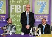 11 September 2014; A host of Kilmacud Crokes stars, past and present, were on hand in Kilmacud Crokes as the 2014 FBD 7's was launched. This is the 42nd year of Ireland's premier 7's tournament which has become a firm favourite in the GAA calendar for both players and supporters alike. Speaking at the 2014 FBD7s launch is Michael Garvey, Director of Marketing & Sales, FBD, in the company of former Donegal footballer Mark McHugh, left, and Pat Quill, President, Ladies Gaelic Football Association. Kilmacud Crokes GAA Club, Burke Park, Glenalbyn, Stillorgan, Co. Dublin. Picture credit: Brendan Moran / SPORTSFILE