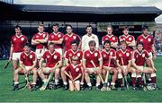 4 September 1988; The Galway team, back row, from left to right, Brendan Lynskey, Pete Finnerty, Michael Coleman, Anthony Cunningham, John Commins, Tony Keady, Martin Naughton and Pat Malone. Front Row, from left to right, Michael McGrath, Joe Cooney, Connor Hayes, Sylvie Linnane, Gerry McInerney, Ollie Kilkenny and Eanna Ryan. GAA Hurling All-Ireland Senior Championship Final, Galway v Tipperary, Croke Park, Dublin. Picture credit: Ray McManus / SPORTSFILE