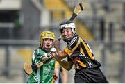 14 September 2014; Claire Aylward, Kilkenny, in action against Deborah Murphy, Limerick. All Ireland Intermediate Camogie Championship Final, Kilkenny v Limerick, Croke Park, Dublin. Picture credit: Ramsey Cardy / SPORTSFILE