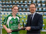 14 September 2014; Niamh Mulcahy, Limerick, receives the player of the match award from Patrick O'Brien, CEO, Liberty Insurance. All Ireland Intermediate Camogie Championship Final, Kilkenny v Limerick, Croke Park, Dublin. Picture credit: Paul Mohan / SPORTSFILE