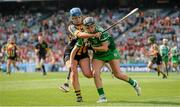 14 September 2014; Rebecca Delee, Limerick, in action against Megan Farrell, Kilkenny. All Ireland Intermediate Camogie Championship Final, Kilkenny v Limerick, Croke Park, Dublin. Picture credit: Paul Mohan / SPORTSFILE