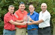 12 September 2014; Winners of the 15th Annual All-Ireland GAA Golf Challenge, from left, former Galway hurler Greg Kennedy, Eamon Dervin, former Galway selector Mattie Kenny and Ger Lynch, representing Loughrea GAA Club, Co. Galway, at the 15th Annual All-Ireland GAA Golf Challenge. Waterford Castle Golf Club, Waterford. Picture credit: Matt Browne / SPORTSFILE