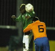 7 February 2007; Emeka Onwubiko, Republic of Ireland, in action against Glenn Kobussem, Holland. Under 18's International, Republic of Ireland v Holland, Richmond Park, Dublin. Picture Credit: Pat Murphy / SPORTSFILE