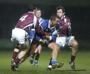 10 February 2007; Darren Rooney, Laois, in action against Damien Burke, left, and Diarmuid Blake, Galway. Allianz National Football League, Division 1B, Round 2, Laois v Galway, O'Moore Park, Portlaoise, Co. Laois. Picture Credit: Pat Murphy / SPORTSFILE