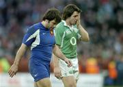 11 February 2007; A dejected Issac Boss, Ireland, with Christophe Dominici, France, at the end of the game. RBS Six Nations Rugby Championship, Ireland v France, Croke Park, Dublin. Picture Credit: David Maher / SPORTSFILE