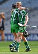 14 September 2014; Limerick's Caoimhe Costello, left, and Niamh Mulcahy celebrate at the end of the game. All Ireland Intermediate Camogie Championship Final, Kilkenny v Limerick, Croke Park, Dublin. Picture credit: Ramsey Cardy / SPORTSFILE