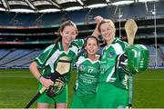 14 September 2014; Limerick's Niamh Ryan, left, Dympna O'Brien, centre, and Lorraine McCarthy celebrate at the end of the game. All Ireland Intermediate Camogie Championship Final, Kilkenny v Limerick, Croke Park, Dublin. Picture credit: Ramsey Cardy / SPORTSFILE