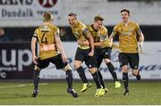 15 September 2014; Karl Sheppard, second left, Shamrock Rovers, is congratulated by teammates, from left, Conor Kenna, Simon Madden and Ronan Finn after scoring their side's second goal of the game. FAI Ford Cup Quarter-Final Replay, Dundalk v Shamrock Rovers. Oriel Park, Dundalk, Co. Louth. Picture credit: Paul Mohan / SPORTSFILE
