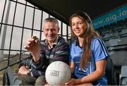 16 September 2014; Dublin ladies footballer Leah Caffrey and her dad John, who was part of the 1983 All-Ireland winning Dublin men's team were at Parnell Park today to mark the launch of AIG's free Dublin jersey promotion. AIG is rewarding customers who take out a new car or home insurance policy from www.aig.ie or 1890 27 27 27 with a free kids' Dublin jersey, or €40 off an adults' Dublin jersey. Vouchers should be redeemed on the O'Neill's website: http://www.oneills.com/aig.html. Picture credit: Paul Mohan / SPORTSFILE