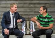 16 September 2014; Shamrock Rovers manager Pat Fenlon, right, and Dundalk manager Stephen Kenny during a media day ahead of their EA Sports Cup Final on Saturday. FAI Headquarters, Abbotstown, Dublin. Picture credit: David Maher / SPORTSFILE