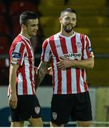 16 September 2014; Rory Patterson, Derry City, right, is congratulated by Michael Duffy after scoring his second and his side's fourth goal. FAI Ford Cup, Quarter-Final replay, Derry City v Drogheda United, Brandywell, Derry. Picture credit: Oliver McVeigh / SPORTSFILE