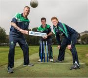 """17 September 2014; Irish cricket has been given a multi-million Euro boost thanks to a 10-year sponsorship deal with Indian conglomerate Shanpoorji Pallonji Group. The multinational Indian conglomerate is investing in the future of Irish cricket and will take up naming rights for Cricket Ireland Academy which will now be known as """"Shapoorji Pallonji Cricket Ireland Academy"""". In addition to holding the naming rights to the Cricket Ireland Academy, Shapoorji Pallonji will also become an official partner of Cricket Ireland. Pictured at the announcement are Ireland International players John Mooney, George Dockrell and Kevin O'Brien. The Pavilion, Trinity College, Dublin. Picture credit: David Maher / SPORTSFILE"""