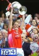 1 October 2006; Cork captain Juliet Murphy lifts the Brendan Martin Cup after victory over Armagh. TG4 Ladies All-Ireland Senior Football Championship Final, Cork v Armagh, Croke Park, Dublin. Picture credit: Brendan Moran / SPORTSFILE