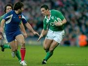 11 February 2007; David Wallace, Ireland, in action against Christophe Dominici, France. RBS Six Nations Rugby Championship, Ireland v France, Croke Park, Dublin. Picture Credit: Brendan Moran / SPORTSFILE