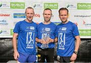 20 September 2014; Race winner Gary O'Hanlon, with second placed Trevor Power, Waterford AC, left, and third placed John Dunne, Donore Harriers AC, right, after the SSE Airtricity Dublin Race Series Half Marathon. Phoenix Park, Dublin. Picture credit: Pat Murphy / SPORTSFILE
