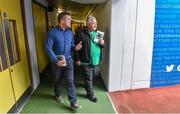 20 September 2014; Dara Ó Cinnéide is the latest to feature on the Bord Gáis Energy Legends Tour Series 2014 when he gave a unique tour of the Croke Park stadium and facilities this week. Pictured is Dara Ó Cinnéide with Jack Stewart from Valentia, Co. Kerry. Croke Park, Dublin. Picture credit: Paul Mohan / SPORTSFILE