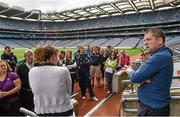 20 September 2014; Dara Ó Cinnéide is the latest to feature on the Bord Gáis Energy Legends Tour Series 2014 when he gave a unique tour of the Croke Park stadium and facilities this week. Pictured is Dara Ó Cinnéide during the tour. Croke Park, Dublin. Picture credit: Paul Mohan / SPORTSFILE
