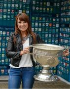 20 September 2014; Dara Ó Cinnéide is the latest to feature on the Bord Gáis Energy Legends Tour Series 2014 when he gave a unique tour of the Croke Park stadium and facilities this week. Pictured is Annmarie Reidy from Ballyheigue, Co. Kerry, with the Sam Maguire Cup. Croke Park, Dublin. Picture credit: Paul Mohan / SPORTSFILE