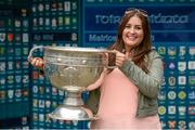 20 September 2014; Dara Ó Cinnéide is the latest to feature on the Bord Gáis Energy Legends Tour Series 2014 when he gave a unique tour of the Croke Park stadium and facilities this week. Pictured is Marie O'Mahony from Ballyheigue, Co. Kerry, with the Sam Maguire Cup. Croke Park, Dublin. Picture credit: Paul Mohan / SPORTSFILE