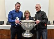 20 September 2014; Dara Ó Cinnéide is the latest to feature on the Bord Gáis Energy Legends Tour Series 2014 when he gave a unique tour of the Croke Park stadium and facilities this week. Pictured is Dara Ó Cinnéide with Donal and Josie McFeely from O'Brien's Foreglen, Co. Derry, and the Sam Maguire cup. Croke Park, Dublin. Picture credit: Paul Mohan / SPORTSFILE