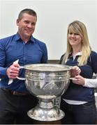 20 September 2014; Dara Ó Cinnéide is the latest to feature on the Bord Gáis Energy Legends Tour Series 2014 when he gave a unique tour of the Croke Park stadium and facilities this week. Pictured is Dara Ó Cinnéide and the Sam Maguire Cup with Lisa Falvey from Ballymacelligott, Co. Kerry. Croke Park, Dublin. Picture credit: Paul Mohan / SPORTSFILE