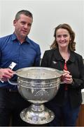 20 September 2014; Dara Ó Cinnéide is the latest to feature on the Bord Gáis Energy Legends Tour Series 2014 when he gave a unique tour of the Croke Park stadium and facilities this week. Pictured is Dara Ó Cinnéide and the Sam Maguire Cup with Una McDermott from Cavan. Croke Park, Dublin. Picture credit: Paul Mohan / SPORTSFILE