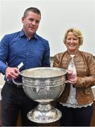 20 September 2014; Dara Ó Cinnéide is the latest to feature on the Bord Gáis Energy Legends Tour Series 2014 when he gave a unique tour of the Croke Park stadium and facilities this week. Pictured is Dara Ó Cinnéide and the Sam Maguire Cup with Maeve O'Flynn from Castleisland, Co. Kerry. Croke Park, Dublin. Picture credit: Paul Mohan / SPORTSFILE