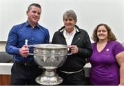 20 September 2014; Dara Ó Cinnéide is the latest to feature on the Bord Gáis Energy Legends Tour Series 2014 when he gave a unique tour of the Croke Park stadium and facilities this week. Pictured is Dara Ó Cinnéide and the Sam Maguire Cup with Danielle and Danny O'Shea from Waterville, Co. Kerry. Croke Park, Dublin. Picture credit: Paul Mohan / SPORTSFILE