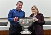 20 September 2014; Dara Ó Cinnéide is the latest to feature on the Bord Gáis Energy Legends Tour Series 2014 when he gave a unique tour of the Croke Park stadium and facilities this week. Pictured is Dara Ó Cinnéide and the Sam Maguire Cup with Grace O'Donoghue from Killarney, Co. Kerry. Croke Park, Dublin. Picture credit: Paul Mohan / SPORTSFILE