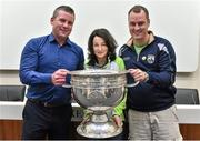 20 September 2014; Dara Ó Cinnéide is the latest to feature on the Bord Gáis Energy Legends Tour Series 2014 when he gave a unique tour of the Croke Park stadium and facilities this week. Pictured is Dara Ó Cinnéide and the Sam Maguire Cup with Shane and Maura Shanahan from Milltown, Co. Kerry. Croke Park, Dublin. Picture credit: Paul Mohan / SPORTSFILE