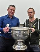 20 September 2014; Dara Ó Cinnéide is the latest to feature on the Bord Gáis Energy Legends Tour Series 2014 when he gave a unique tour of the Croke Park stadium and facilities this week. Pictured is Dara Ó Cinnéide and the Sam Maguire Cup with Ed Lyne from Killarney, Co. Kerry. Croke Park, Dublin. Picture credit: Paul Mohan / SPORTSFILE