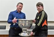 20 September 2014; Dara Ó Cinnéide is the latest to feature on the Bord Gáis Energy Legends Tour Series 2014 when he gave a unique tour of the Croke Park stadium and facilities this week. Pictured is Dara Ó Cinnéide and the Sam Maguire Cup with Brendan Falvey from Ballymacelligott, Co. Kerry. Croke Park, Dublin. Picture credit: Paul Mohan / SPORTSFILE