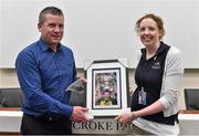 20 September 2014; Dara Ó Cinnéide is the latest to feature on the Bord Gáis Energy Legends Tour Series 2014 when he gave a unique tour of the Croke Park stadium and facilities this week. Pictured isSiobhan Doyle from Croke Park making a presentation to Dara Ó Cinnéide. Croke Park, Dublin. Picture credit: Paul Mohan / SPORTSFILE