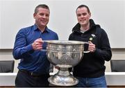 20 September 2014; Dara Ó Cinnéide is the latest to feature on the Bord Gáis Energy Legends Tour Series 2014 when he gave a unique tour of the Croke Park stadium and facilities this week. Pictured is Dara Ó Cinnéide and the Sam Maguire Cup with Sean Clancy from Clare. Croke Park, Dublin. Picture credit: Paul Mohan / SPORTSFILE