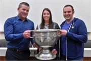 20 September 2014; Dara Ó Cinnéide is the latest to feature on the Bord Gáis Energy Legends Tour Series 2014 when he gave a unique tour of the Croke Park stadium and facilities this week. Pictured is Dara Ó Cinnéide and the Sam Maguire Cup with Colin and Jennifer Myers from Killarney, Co. Kerry. Croke Park, Dublin. Picture credit: Paul Mohan / SPORTSFILE