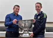 20 September 2014; Dara Ó Cinnéide is the latest to feature on the Bord Gáis Energy Legends Tour Series 2014 when he gave a unique tour of the Croke Park stadium and facilities this week. Pictured is Dara Ó Cinnéide and the Sam Maguire Cup with Pearse Kirby from Ballinskelligs, Co. Kerry. Croke Park, Dublin. Picture credit: Paul Mohan / SPORTSFILE