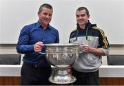 20 September 2014; Dara Ó Cinnéide is the latest to feature on the Bord Gáis Energy Legends Tour Series 2014 when he gave a unique tour of the Croke Park stadium and facilities this week. Pictured is Dara Ó Cinnéide and the Sam Maguire Cup with Bernard Kelly from Ballinskelligs, Co. Kerry. Croke Park, Dublin. Picture credit: Paul Mohan / SPORTSFILE