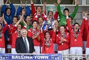20 September 2014; Ballina Town FC captain Orna O'Dowd lifts the cup. FAI Women's Intermediate Cup Final, Douglas Hall LFC v Ballina Town FC. Turners Cross, Cork. Picture credit: Barry Cregg / SPORTSFILE