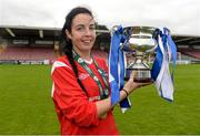 20 September 2014; Ballina Town FC captain Orna O'Dowd celebrates with the cup after the game. FAI Women's Intermediate Cup Final, Douglas Hall LFC v Ballina Town FC. Turners Cross, Cork. Picture credit: Barry Cregg / SPORTSFILE