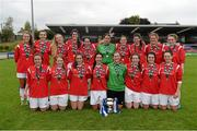 20 September 2014; The Ballina Town FC team celebrate with the cup after the game. FAI Women's Intermediate Cup Final, Douglas Hall LFC v Ballina Town FC. Turners Cross, Cork. Picture credit: Barry Cregg / SPORTSFILE