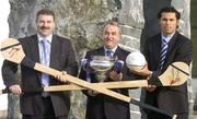 12 February 2007; At the official launch of the Ulster Bank Fitzgibbon Cup are, from left, Sean Healy, Managing Director Retail Markets Ulster Bank, Nickey Brennan, President of the GAA, and Cork hurler Sean Og O hAilpin. This is the first time ever that IT Carlow will host the Fitzgibbon Cup (Division One); the Ryan Cup (Division 2) and the Fergal Maher Cup (Division 3) which will be played in Carlow on Friday 9th and Saturday 10th March. Picture credit: Paul Mohan / SPORTSFILE  *** Local Caption ***