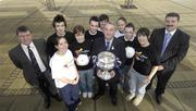 12 February 2007; At the official launch of the Ulster Bank Fitzgibbon Cup are, from left, Dr. Ruaidhrai Neavyn, Director of IT Carlow, with IT Carlow students Angela Flynn, Aaron Mulrooney, Sinead Maye, Stephen Shortt, Eoghan Fingleton, Nickey Brennan, President of the GAA, Cien Meade, Niall Walsh, Una O'Connor and Sean Healy, Managing Director Retail Markets Ulster Bank. This is the first time ever that IT Carlow will host the Fitzgibbon Cup (Division One); the Ryan Cup (Division 2) and the Fergal Maher Cup (Division 3) which will be played in Carlow on Friday 9th and Saturday 10th March. Picture credit: Paul Mohan / SPORTSFILE  *** Local Caption ***