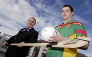 12 February 2007; Nickey Brennan, President of the GAA, left, with Carlow IT hurler Ruairi Dunbar, at the official launch of the Ulster Bank Fitzgibbon Cup. This is the first time ever that IT Carlow will host the Fitzgibbon Cup (Division One); the Ryan Cup (Division 2) and the Fergal Maher Cup (Division 3) which will be played in Carlow on Friday 9th and Saturday 10th March. Picture credit: Paul Mohan / SPORTSFILE  *** Local Caption ***